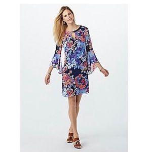 Floral Chiffon-Sleeve Keyhole Dress